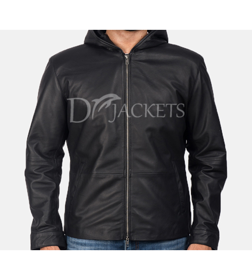 Black Plan Biker Leather Jacket for Men