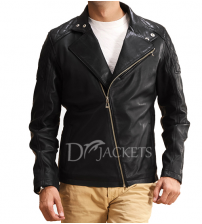 Biker Black Leather Jacket for Men