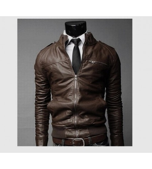 Custom Slip Leather Bomber Man Jacket