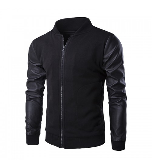 New Trend Leather Sleeve Slim Bomber Jacket