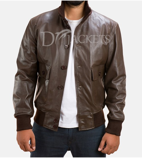 Brown Bomber Leather Jacket