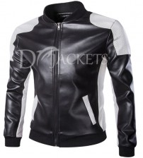 Black & White Casual Leather Jacket