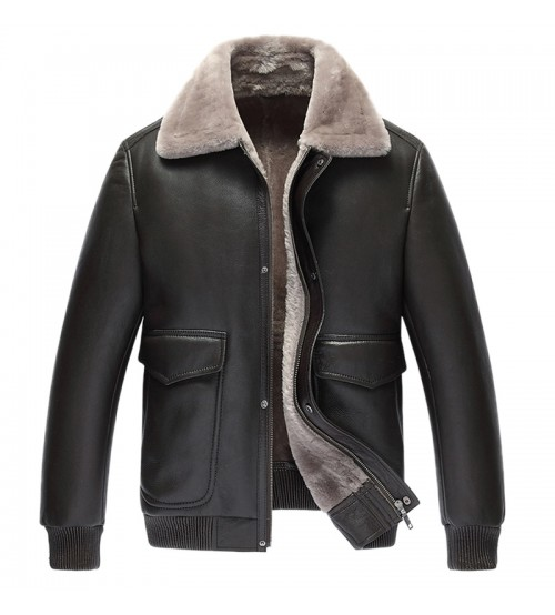 Men Coat Pilot Leather Jacket
