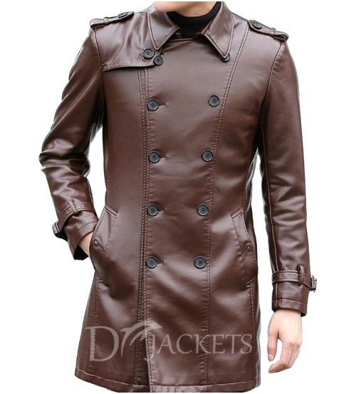 Leather Brown Coat Man