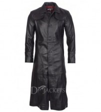 Simple Black Leather Coat Man