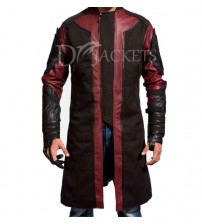 Red & Brown Leather Coat