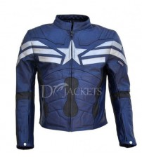Navy Blue Leather Jacket Man