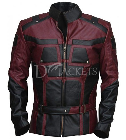 Black & Red Leather Jacket Man