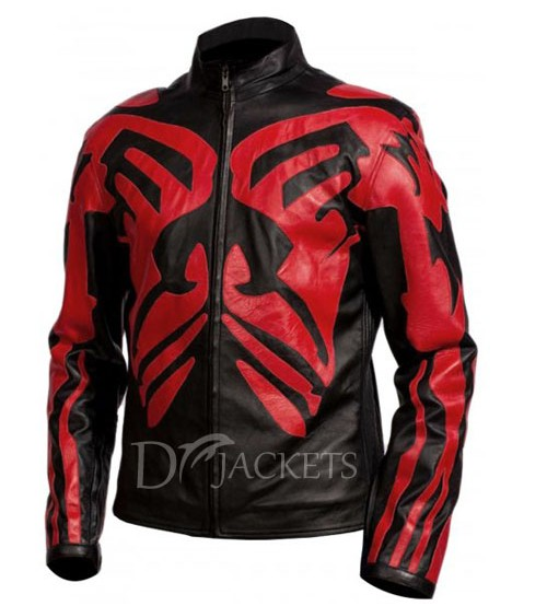 Red & Black Leather Jacket Man