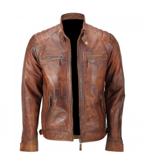 Light Brown with Black Spot Leather Jacket Man