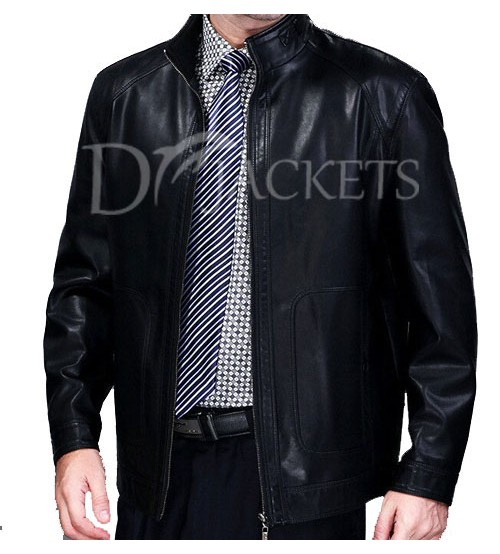 Plain Black Formal Leather Jacket Man