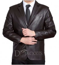 Soot Leather Coat Man