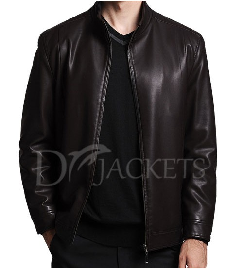 Plain Soot Leather Jacket Man
