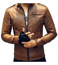 Tawny Formal Leather Jacket Man