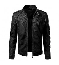 Moncler Black Leather Jacket