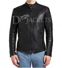 Plain Black Leather Jacket for Man