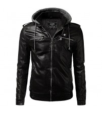 Black Sports Leather Jacket Man