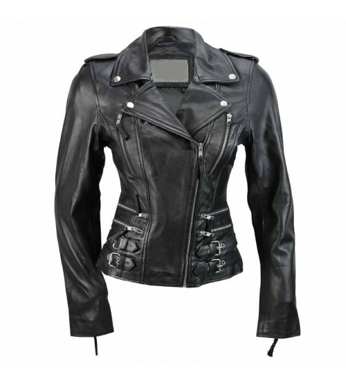 Women's Biker Leather Jacket with Buckle Straps