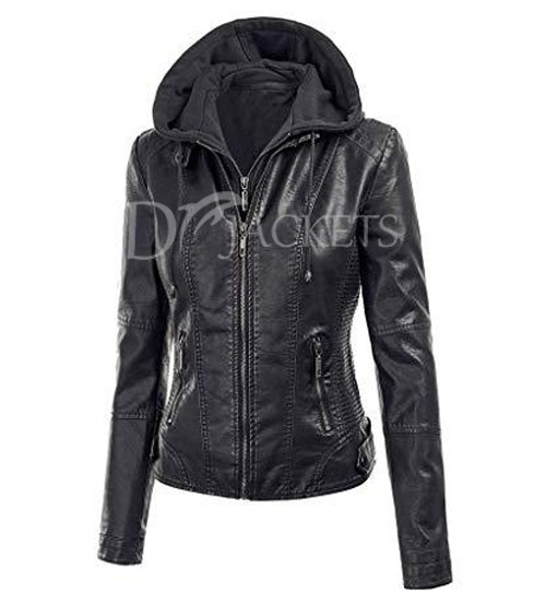 Biker Black Leather Jacket Woman