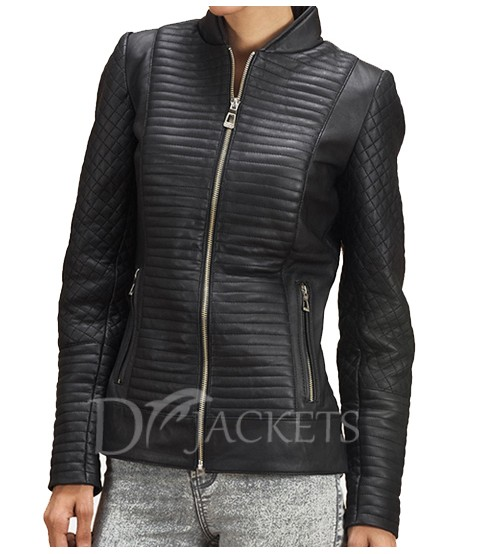 Black Lining Biker Leather Jacket Woman
