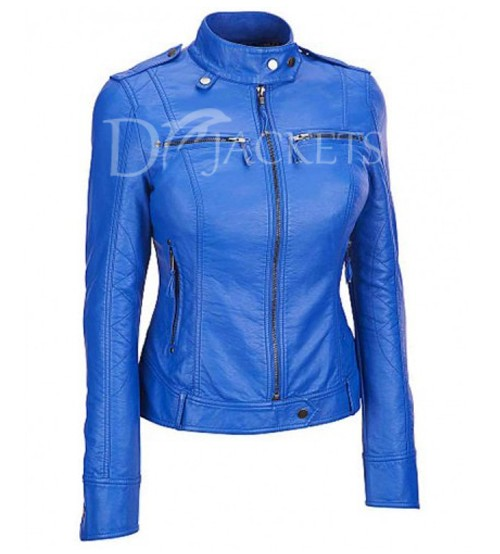 Blue Biker Leather Jacket Woman