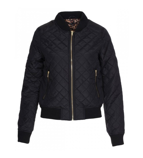 Women's Black Quilted Bomber Jacket