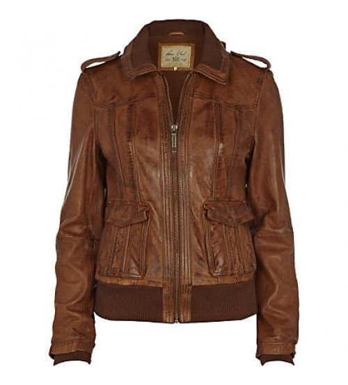 Brown Women Bomber Leather Jackets