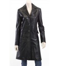 Women's Black Long Leather Coat