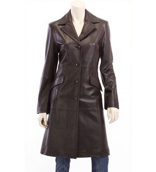 Antique Brown Women's Long Leather Coat