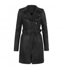 Zipper Front Belted Black Women's Leather Coat