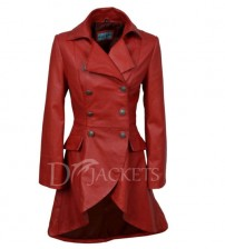 Red Leather Coat Woman
