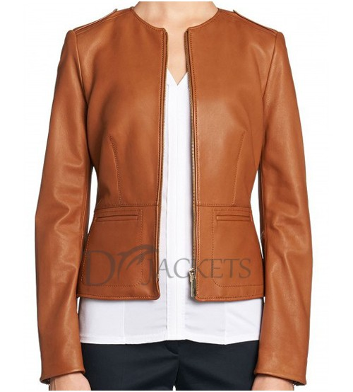 Light Brown Formal Leather Jacket
